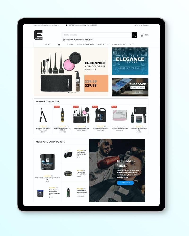 Elegance Gel Website Design