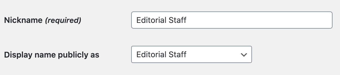 Editorial staff username in WordPress.