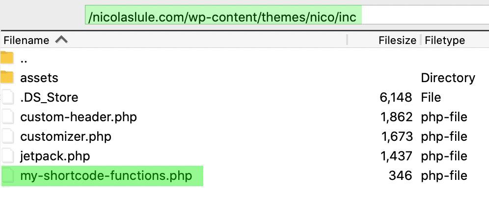 Custom shortcode file location in WordPress theme files.