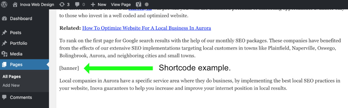 Example of a WordPress shortcode in the page editor.